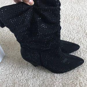 Shoes - Black rhinestone booties
